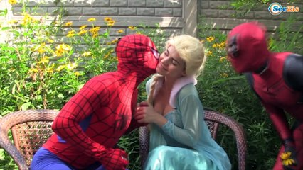 Spiderman Frozen Elsa Surprise Egg hunt vs Deadpool Funny Superhero