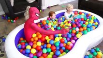 Giant Swimming Pool filled with Balls!! Frozen Elsa and Frozen Anna & Spiderman vs Harley Quinn