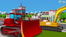 Red Bulldozer & Yellow Excavator digging in the Big City 3D Cartoon for Kids Cars & Trucks Stories