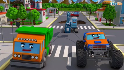 Blue Tractor Car Accident w Monster Truck on the road - 3D Animation Cartoon Cars & Trucks Stories