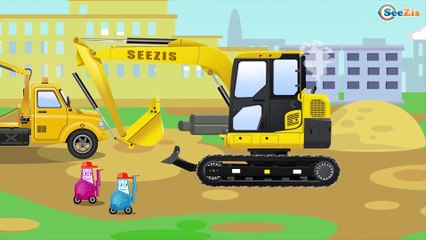 The Yellow Excavator and The Crane   Construction Trucks & Service Vehicles Cartoons for children
