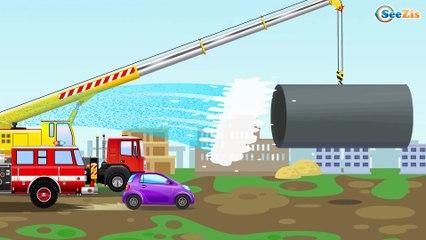 La Excavadora es amarillo infantiles en la operación - Tiki Taki Camiónes   La zona de construcción