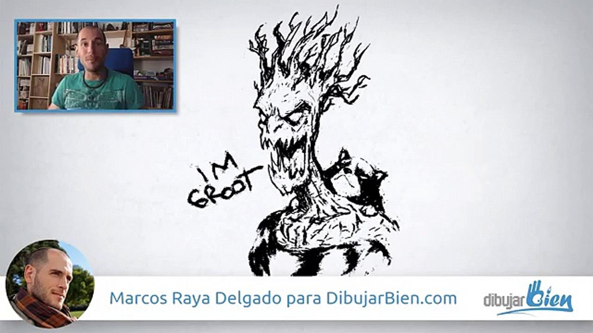 Dibujar a Groot, Guardianes de la galaxia - Drawing Groot - Dibujar Bien.com