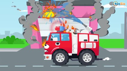 White Ambulance Car Rescue in the City w Fire Truck - Learn Cars & Trucks Cartoon for children