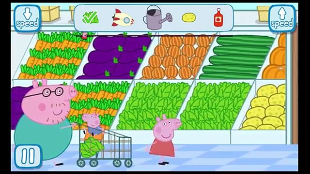 Peppa pig shopping Daddy pig George Pig Mummy Pig