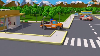 Learn Vehicles - Fire Truck & Tow Truck w Monster Truck! 3D Animation Cars & Truck Stories