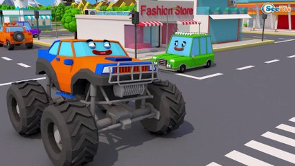 Color Truck With Monster Truck helped Excavator - Construction Kids Cartoon | Cars & Trucks Stories