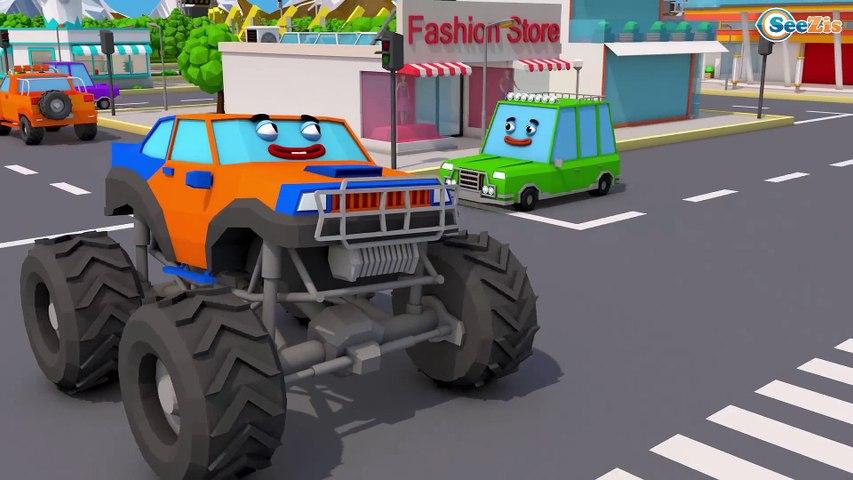 Color Truck With Monster Truck helped Excavator - Construction Kids Cartoon | Cars & Trucks Stories