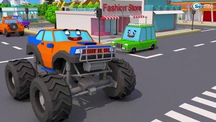 Color Truck With Monster Truck helped Excavator - Construction Kids Cartoon   Cars & Trucks Stories