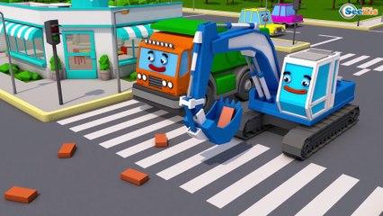 Giant Bulldozer & Yellow Excavator digging in the Big City 3D Children Video Cars & Trucks Stories