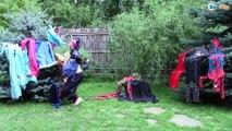 Joker w/ Maleficent vs Pink spidergirl, Frozen Elsa, Giant foot Superhero Fun Episode 144