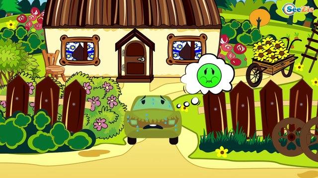 El Сamión y Grúa en Sitio de construcción - Dibujo animado de coches   La zona de construcción