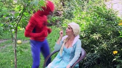Spiderman Attacks GIANT Spider! w/ Frozen Elsa, Joker, Spider Girl, - Disney Princess
