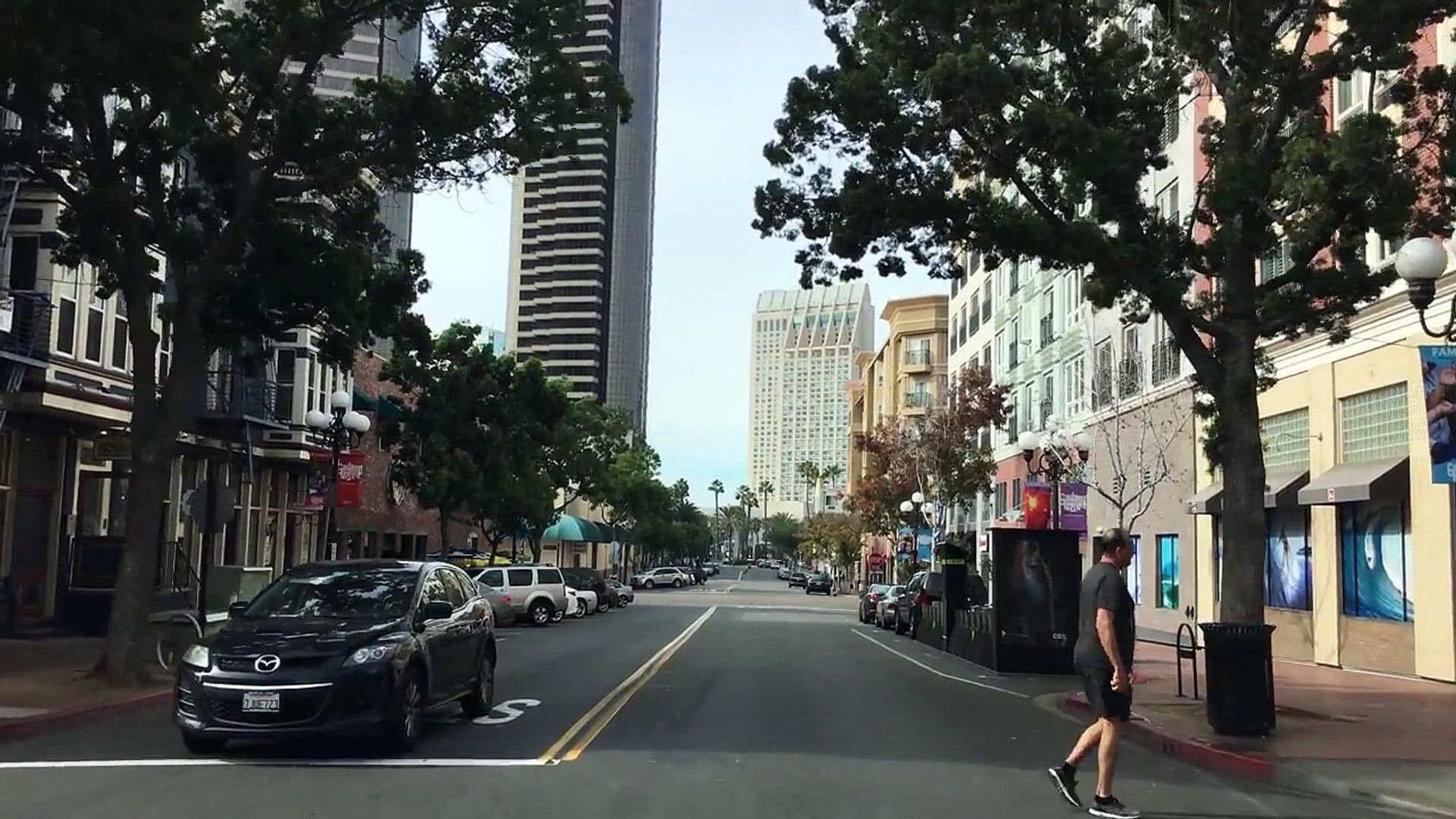 Driving Downtown - San Diegos Gaslamp Quarter - San Diego California USA