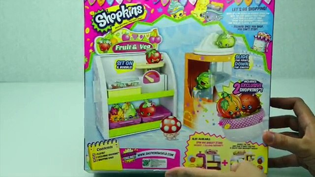 Shopkins Juicer Easy Squeezy Fruit & Veg Stand Playset Toy Unboxing Opening Review - Kids Toys