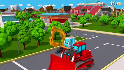 NEW Yellow Excavator & Tractor - Construction Vehicles 3D Cartoons for Kids Cars & Trucks Stories