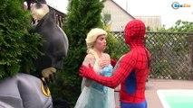 Frozen Elsa & Spiderman BECOMES EVIL Princess Anna, Joker, Maleficent, Spidergirl Superheroes IRL