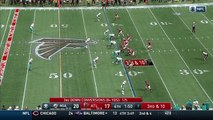 Atlanta Falcons wide receiver Justin Hardy cuts upfield for 22 yards to get Falcons in field goal position