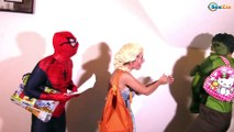 Frozen Elsa CHASED BY KILLER Joker! w/ Spiderman Baby Maleficent Car Princess Anna Superheroes