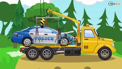 El Pequeño Tractor y el Camión infantiles - Dibujo animado de coches   La zona de construcción