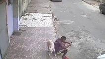 Cet homme se fait uriner dessus par un chien