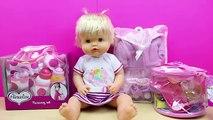 Accesorios nuevos para la muñeca bebé Nenuco | Bolso cambiador y Set comiditas para la muñeca bebé