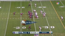 Denver Broncos QB Trevor Siemian fires over the middle to Demaryius Thomas for 24-yard gain