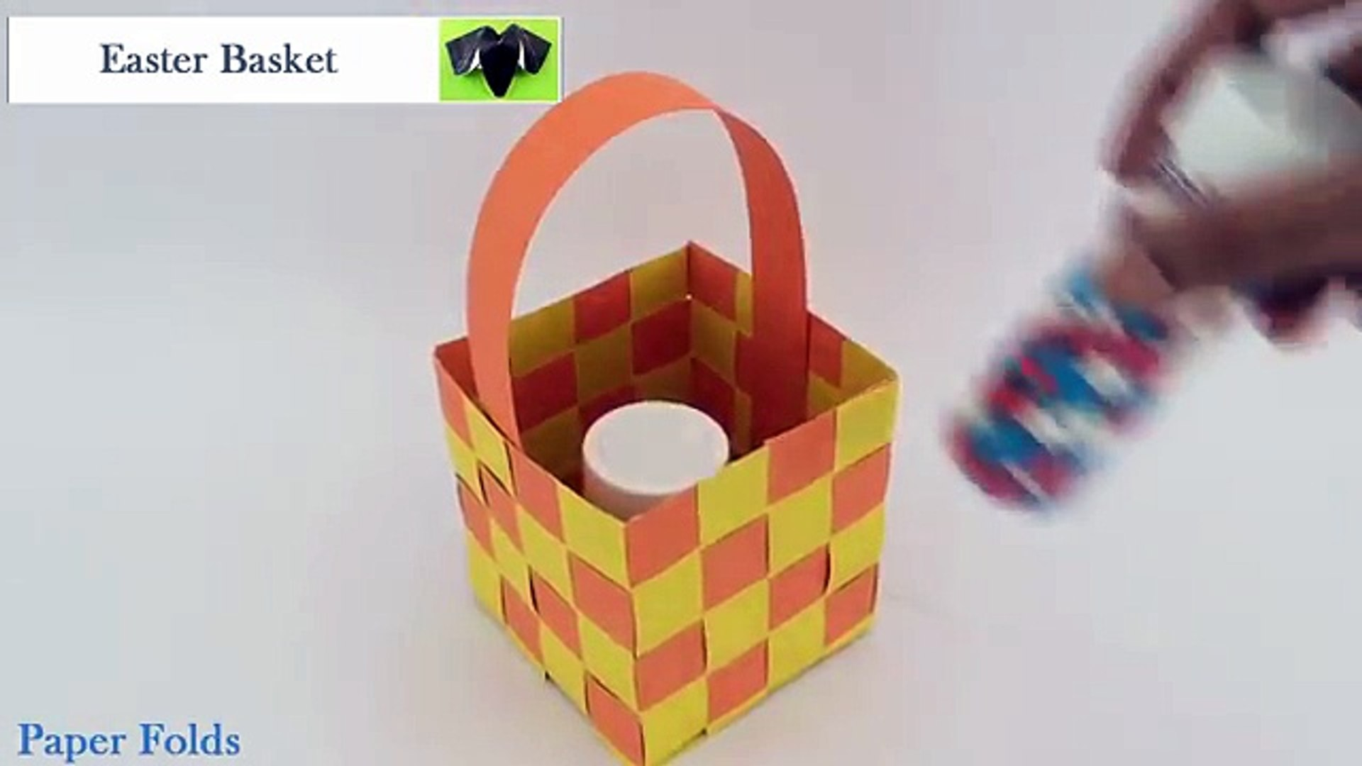 Free Paper Crafts for Easter - Origami Easter Basket | 1080x1920