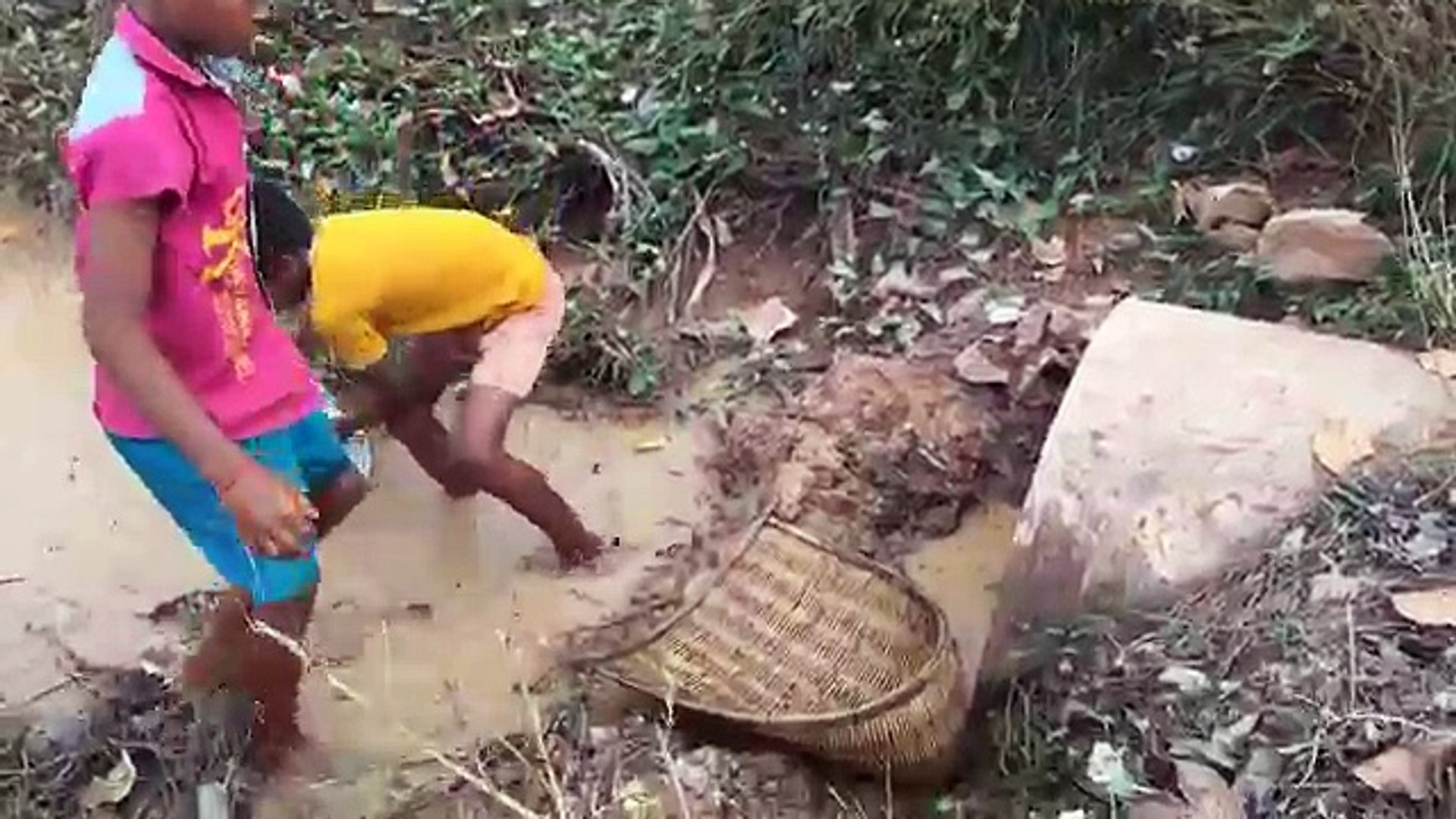 Amazing Fishing - Two Boys Catch A Lot Of Fish With Bare Hand - How To Catch Fish In Cambodia