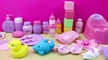 Bolso con 30 Accesorios para la muñeca Bebé | La Bebé nenuco come papilla y se baña en la bañera