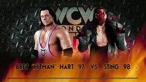 "WWE 2K18   Bret ""Hitman"" Hart '97 vs. Sting '98 (nWo WolfPac)   WCW Monday Nitro: Classic Match"