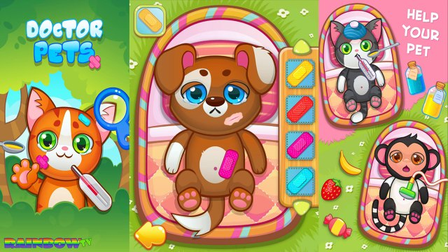 Game app for Kids. Doctor Pets Heal your little friends: Cat, Monkey, Dog, Rabbit. Hospital Pets.