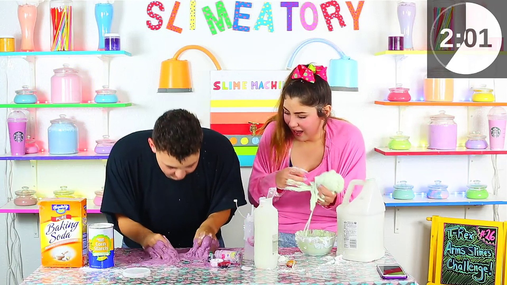 T-REX ARMS SLIME CHALLENGE | MAKING SLIME AS A T-REX | Slimeatory #26