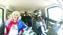 Villains vs Superheroes Dancing in a Car!! Harley Quinn Venom black spiderman the joker catwoman!