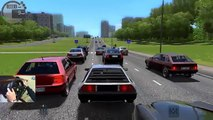 City Car Driving: Delorean, it can drift! Police in traffic and crashes w/ wheelcam