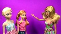 Frozen Anna and Elsa Barbie Dolls Go To Barbie Spa Frozen Parody