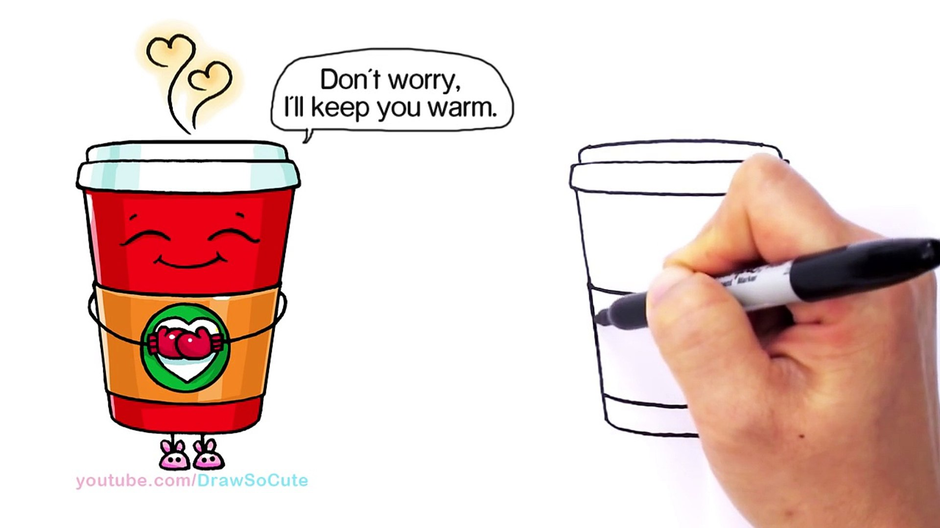 How To Draw A Hot Starbucks Drink Step By Step Easy And Cute Winter Holiday