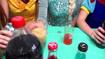 Soda Challenge Frozen Elsa and Spiderman!! w/ Disney Princesses and Batman vs the joker and Ariel