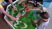 Playing with Trains Building Thomas & Friends Wooden Tracks Table with Tidmouth Sheds