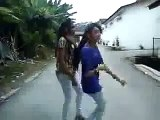 2 Girls are dancing on Road on Riva Riva Riva
