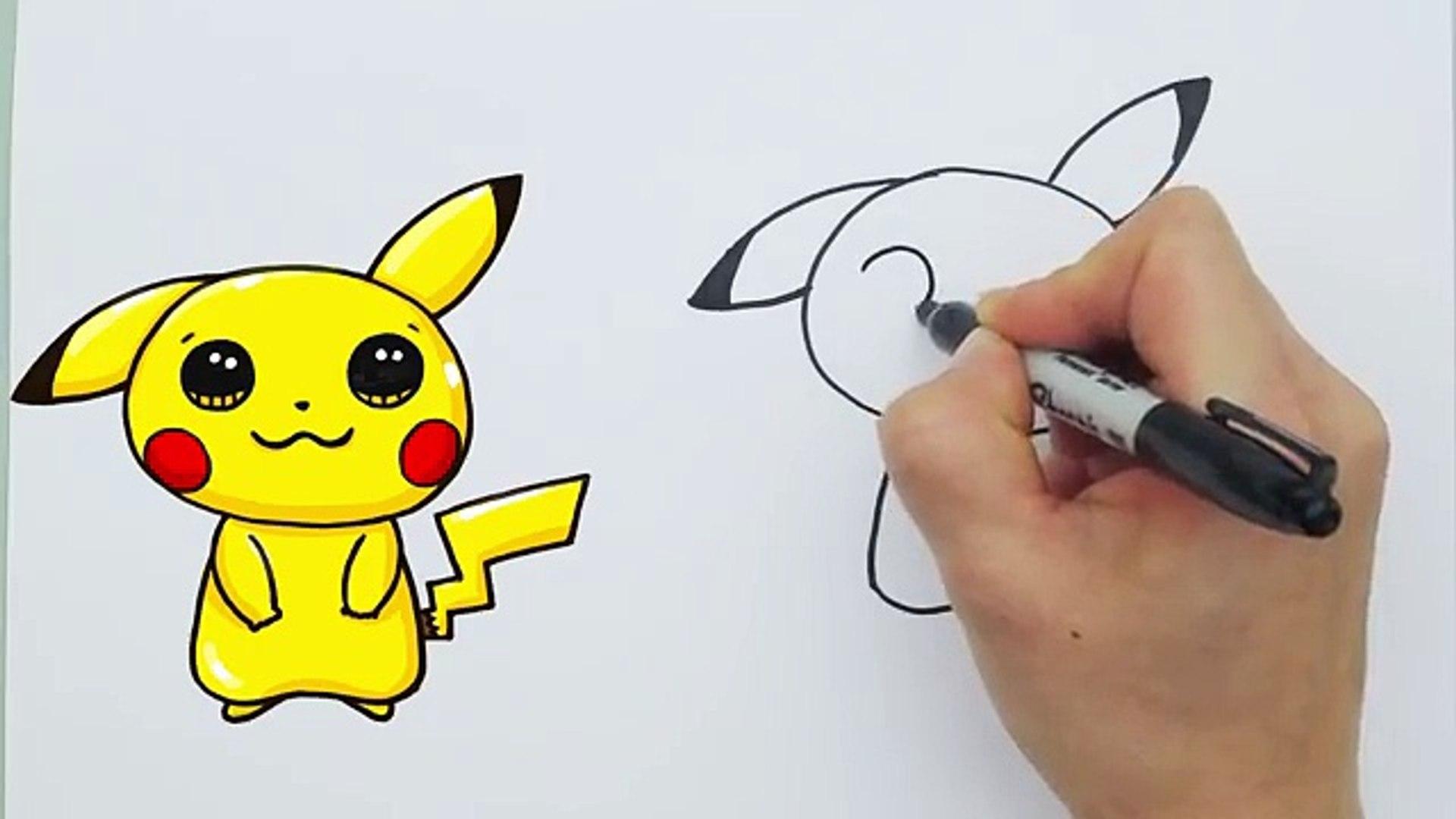 How To Draw Pokemon Go Pikachu Cute Step By Step Easy