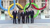 JO-2024: Thomas Bach devant les anneaux olympiques à Paris