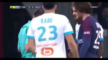 Main de Jordan Amavi et carton jaune pour Kylian Mbappé - OM VS PSG (22-10-2017)