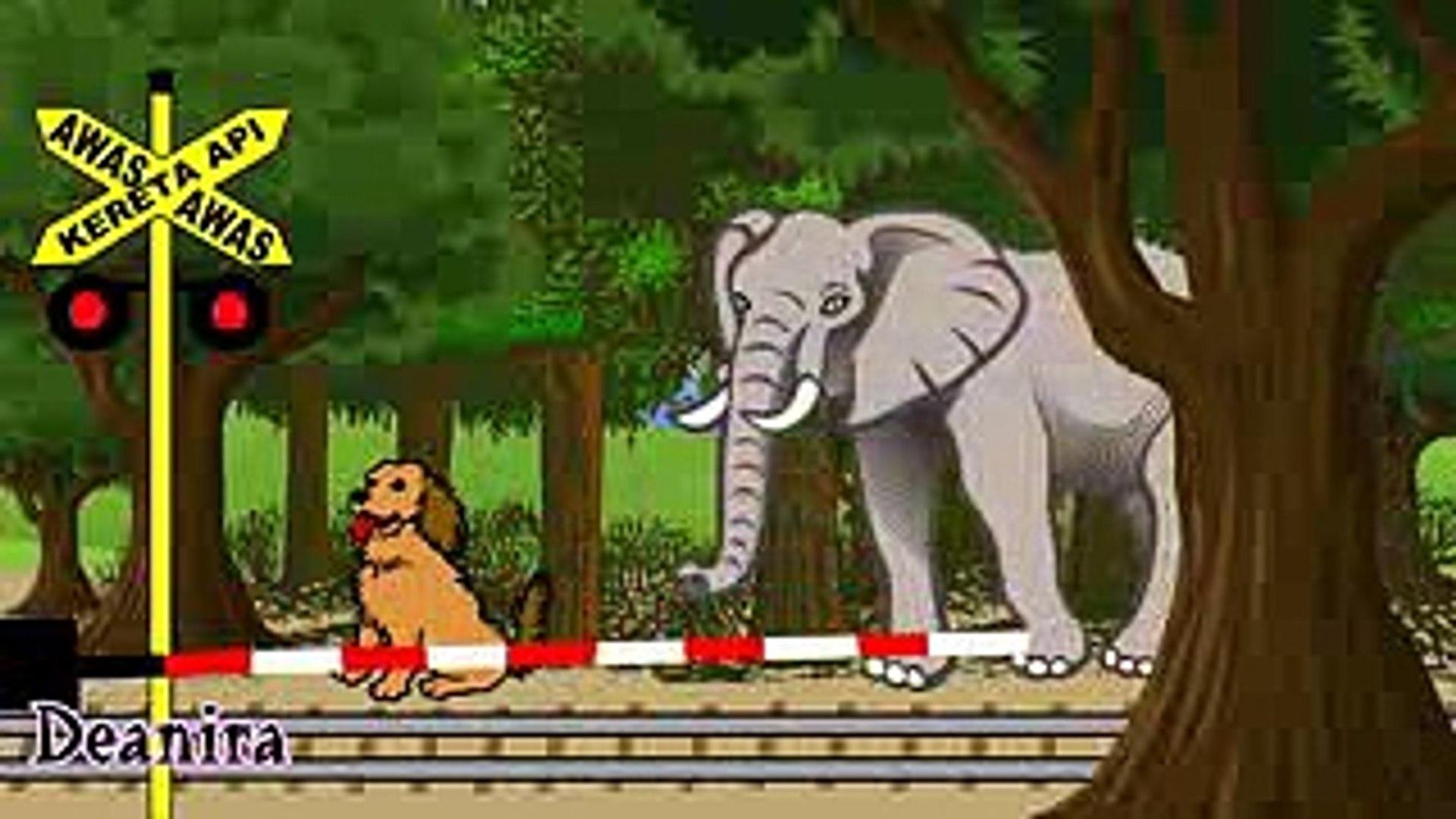 Kartun Animasi Anak Kereta Api Binatang Gajah Unta Jerapah