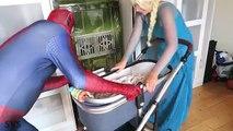 UGLY BABY vs JOKER w/ Spiderman & Frozen Elsa Anna Pink Spidergirl Crying Baby Superhero Real Life
