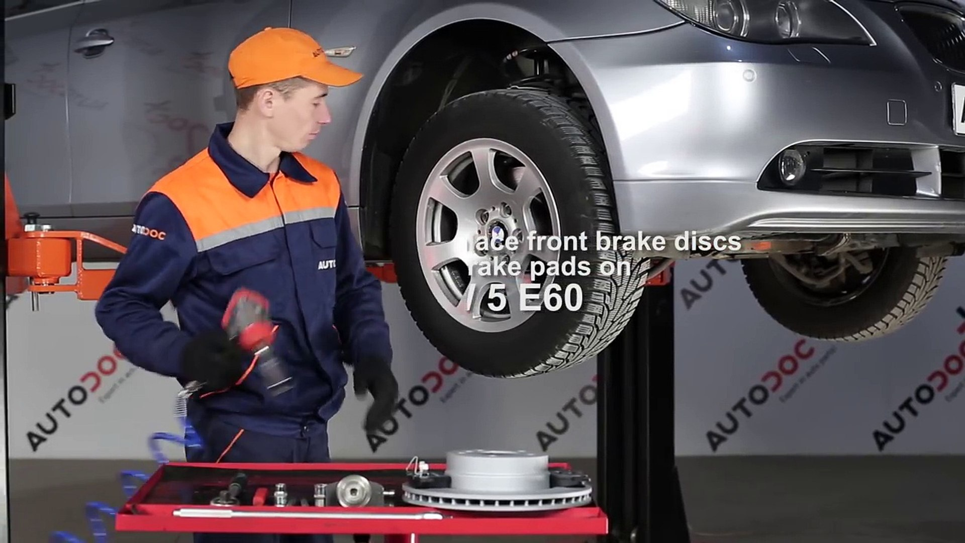 How to replace front brake discs and front brake pads on BMW 5 E60 TUTORIAL   AUTODOC