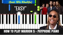 How To Play Maroon 5 - Payphone Piano Easy (Tutorial + Cover) with Lyrics - Synthesia Music Lesson