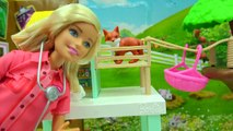 Animal Rescuer Barbie Vet Doll Takes Medical Care of Schleich Baby Animals, Gives Shots