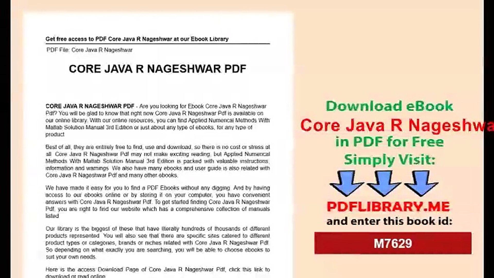Core Java R Nageshwar