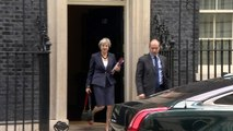 May leaves Downing Street for PMQs